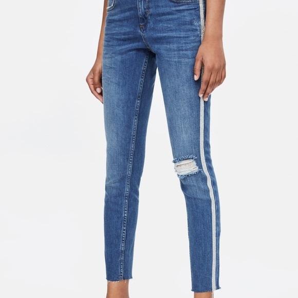 Zara Skinny Distressed Glitter Stripe Jeans